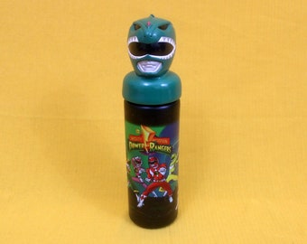 Vintage Mighty Morphin Power Rangers Water Bottle. Retro 1994 Green Power Ranger Plastic Water Bottle. Rare 90s Kid Cartoon Water Bottle