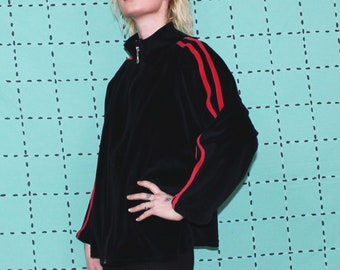 Vintage Velour Zip Up Track Jacket. Black And Red Striped Retro Warm Up Coat. Womens or Mens 80s Athletic Spring Layer. Royal Tenebaums
