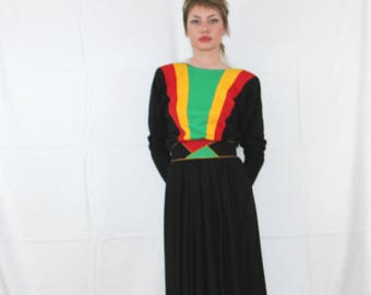 Vintage 70s Or 80s Long Color Block Dress With Belt. Retro Polyester  Rastafarian Color Dress
