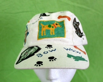 Cute 90s Dog Baseball Cap. All Over Print Dog Lover Bark Bow Wow Snapback Hat. Kitschy Duck Cotton Animal Friendly Dog Gift Hat