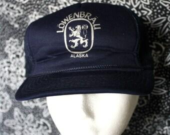 a1e2c7b3 Vintage Lowenbrau Beer Baseball Cap. Blue Hipster Prepper Beer Drinker Hat.  Rare German Beer White Hat. Weekend Beach Drinking Party Hat