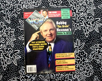 WCW Vintage Magazine. Bobby The Brain Heenan Cover. Wrestling Gift For Him. 90s Wrestling Magazine.Ric Flair Article. Stunning Steve Austin