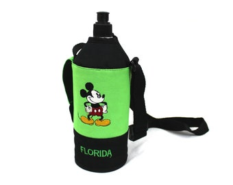 Vintage Mickey Mouse Water Bottle. Neon Green Disney Sports Travel Water Bottle. Plastic Hiking Bottle With Embroidered Mickey Mouse Case.
