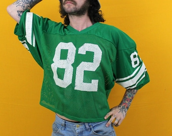 80s Mickey Shuler New York Jets Green NFL Football Jersey. Vintage Collectible See Through Mesh Nfl Football Jersey. 80s Ny Jets Gift