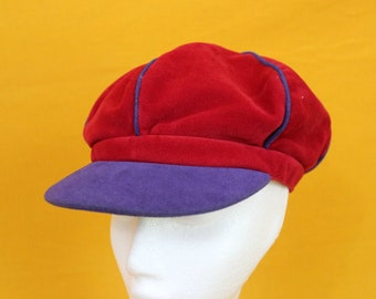 Vintage Apple Cap. Red And Purple 70s Apple Cap Hat. Velvety Funky Retro Baseball Cap. Rerun From Whats Happenin TV Show Hat. Halloween Hat