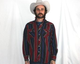 99c24f2bf54 Vintage Wrangler Flannel Mens Western Snap Up Shirt. Red Blue Stripe  Southwestern Print. Long Sleeve Wrangler Cowboy Button Up Shirt
