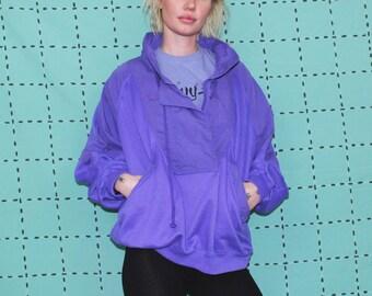 Purple Womens Slouchy Sweatshirt. Baggy Minimalist Solid Purple Lightweight Spring Jacket. Soft 90s Womens Basic Streetwear.