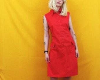 Red Mod Baby Doll Dress. Retro 60s Or 70s Sleeveless Cute Midi Length Red Dress. Mid Century Womens Mad Men Fashion. Cute Pin Up Dress