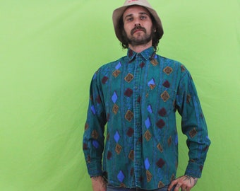 Vintage 90s Turquoise Button Down Long Sleeve Geometric Shirt. 90s Mens Collared Southwestern Geometric Vintage Button Up Retro Dress Shirt.