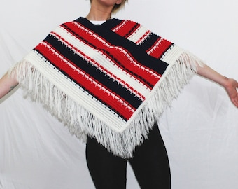Vintage Multi Colored Striped Knit Poncho. Red White And Black Boho Soft Pullover Shawl. Super Soft Hand Made Fringe Vintage Poncho.