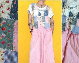 Vintage Hippie Patchwork Vest Dress. 90s Art Teacher Hippie Vintage Dress. Pastel 90s Hippie Mom Vested Dress. Long Vintage Patch Dress.