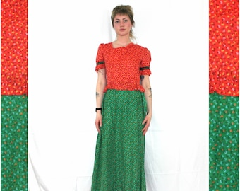 a703a286ad Vintage Country Girl Maxi Dress. 60s or 70s Hippie Green And Red Orange  Floral Hippie