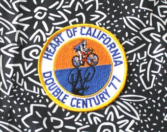 Vintage 70s Bicycle Race Embroidered Patch. Retro White Yellow Blue Heart Of California Double Century 77 Collectible Patch. 70s Bike Patch