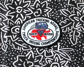 Vintage 80s American Trucking Association Driving Championships Embroidered Patch. Retro Collectible Trucker Patch. Safe Driving Award