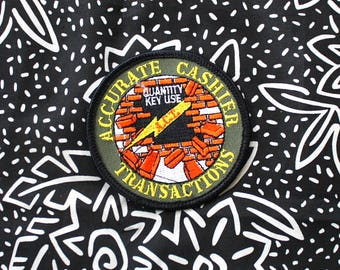 Vintage Accurate Cashier Award Embroidered Patch. 70s Or 80s Rare Worker Cashier Award Patch. Kitschy Retro 80s Job Patch.