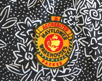Vintage Rare Mayflower Warehouses Packer Trucker Embroidered Patch. Retro Collectible Trucker Patch. Retro Trucking And Shipping Patch