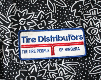 Vintage Tire Distributors Of Virginia Embroidered Patch. 70s or 80s Rare Worker Salesman Patch. Black Red And White Worker Patch