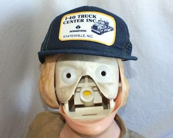 Vintage I-40 Truck Center Patched Snapback Baseball Cap. Retro Trucker 80s Baseball  Cap. Hipster 80s Patched Denim Trucker Cap 3b0a7eea6a7f