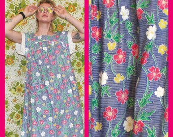 344988bd92 Vintage 80s Floral Hawaiian Blue Muumuu House Dress. Womens Retro Soft  Tropical Night Gown With