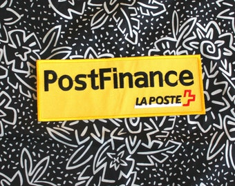 Vintage PostFinance Bank Embroidered Patch. Rare French Bank Logo Yellow Patch. Large Rectangle Corporate Logo Advertising Patch
