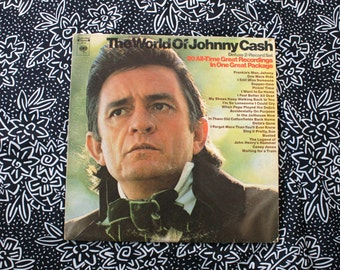 Johnny Cash - World Of Johnny Cash Greatest Hits - Vintage Vinyl Double LP Record Album. Rare Johnny Cash Country Classic Greatest Hits