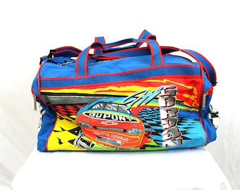 459a7937c5f0 Vintage Jeff Gordon Nascar Duffel Bag. 90s Bright Overnight Duffel Bag.  Blue Retro 90s