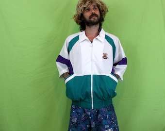 Vintage 80s Baggy Geometric Color Block Jacket. 80s Zip Up Mens Womens Jacket. 90s Turquoise Purple White Slouchy Nautical Dad Clothes