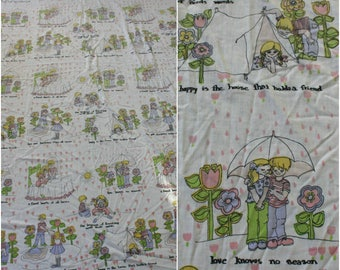 Vintage Retro Cute Friendship Bed Sheet. Retro Cottage Chic Cute Couple Best Friend Bed Sheet. Girlfriend Wife Sheet Gift