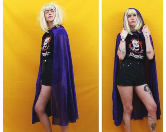 Vintage Sparkly Purple Hooded Cloak. Purple Cape With Hood. Vintage Wicca Hooded Witchy Cape Costume. Whimsical Cosplay Purple Glitter Cloak