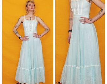 03c269cb24 70s Gunne Sax Western Prairie Maxi Lace Dress. Prom Or Alternative Wedding  Dress. Size