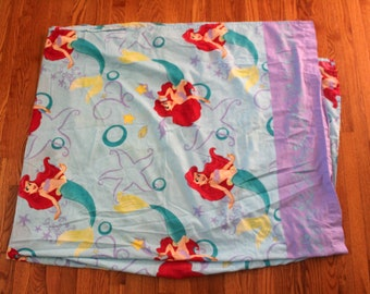 Vintage Little Mermaid Bed Sheet. 90s Little Mermaid Cartoon Collectible 90s Twin Bed Sheet. White 90s Kid Cartoon Twin Bed Sheet