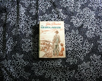 The Grapes Of Wrath By John Steinbeck. 1960s First Edition 15th Printing Hardcover Book. Classic Literature Book. Steinbeck 1962