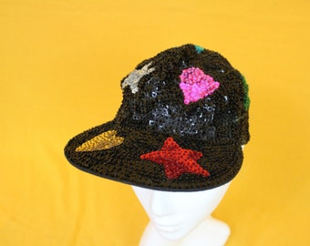 Vintage Sequin Hat. Funky 90s Black Sequin Hat With Multicolored Hearts And Stars.Funky Heart Star Sequin Funky Streetwear Hip Hop Girls Hat