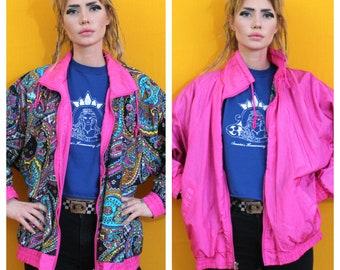 Reversible Paisley And Neon Pink Windbreaker. Funky 90s Bright XL Baggy Streetwear Windbreaker Jacket. Womens 90s Hip Hop Clothing
