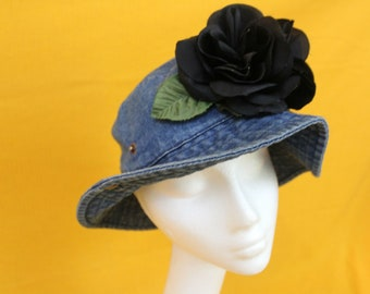 Vintage 90s Denim Bucket Hat With Black Flower On It. Funky 90s Girl Bucket Hat. Blossom Style Cute Preppy Floral Denim Bucket Hat.