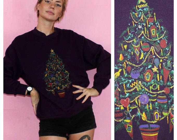 Featured listing image: Vintage Handpainted Christmas Tree Sweatshirt. Purple Tacky Glittery Christmas Holiday Crewneck Sweatshirt. Small Medium Christmas Shirt