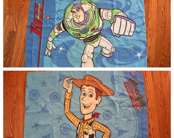 Vintage Toy Story Pillow Case. One Walt Disney 90s Kid Collectible Toy Story Buzz Lightyear And Woody Double Sided 90s Cartoon Pillowcase.