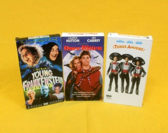 80s Comedy VHS Set. Three Amigos, Once Bitten, Young Frankenstein. Hilarious 80s Classic 3 VHS Tape Set. 80s Movie Night Party