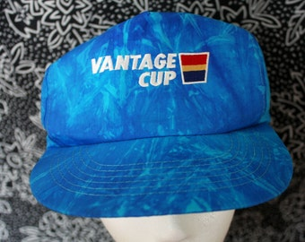 Vintage 90s Hipster Nylon Hat. Vantage Cup Logo Blue Swirly Tie Dye Baseball Snapback Hat. Super Cool 90s Hipster Dope Fresh Style