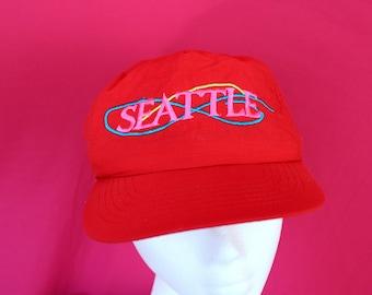 Vintage Seattle Souvenir Baseball Cap. Souvenir Seattle Dad Hat. 90s Bright Red Seattle Washington Hat. Soft Nylon Mac Demarco Style Hat