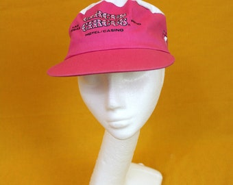 Vintage Circus Circus Casino Pale Pink Painters Cap. Rare 1980s Bright Neon 90s Hat. Retro Circus Clown Neon Pink Hat Painters Cap