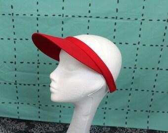 Bright Red Sun Visor Hat. Vintage 80s Or 90s Red Visor Hat. Retro Bright Red Minimalist Visor. Womens Golfer Tennis Visor Hat