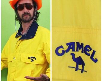 Vintage Camel Cigarettes  Windbreaker Jacket. Lightweight Bright Yellow Retro Camel Cigarettes Windbreaker. Rare Vintage Cigarettes Jacket.