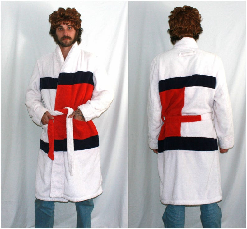 superior materials best place for new product Tommy Hilfiger Logo Funky Fresh Soft Long Cotton Robe. Tommy Hilfiger Mens  Or Womens Rare 90s Hip Hop Designer Full Body Robe