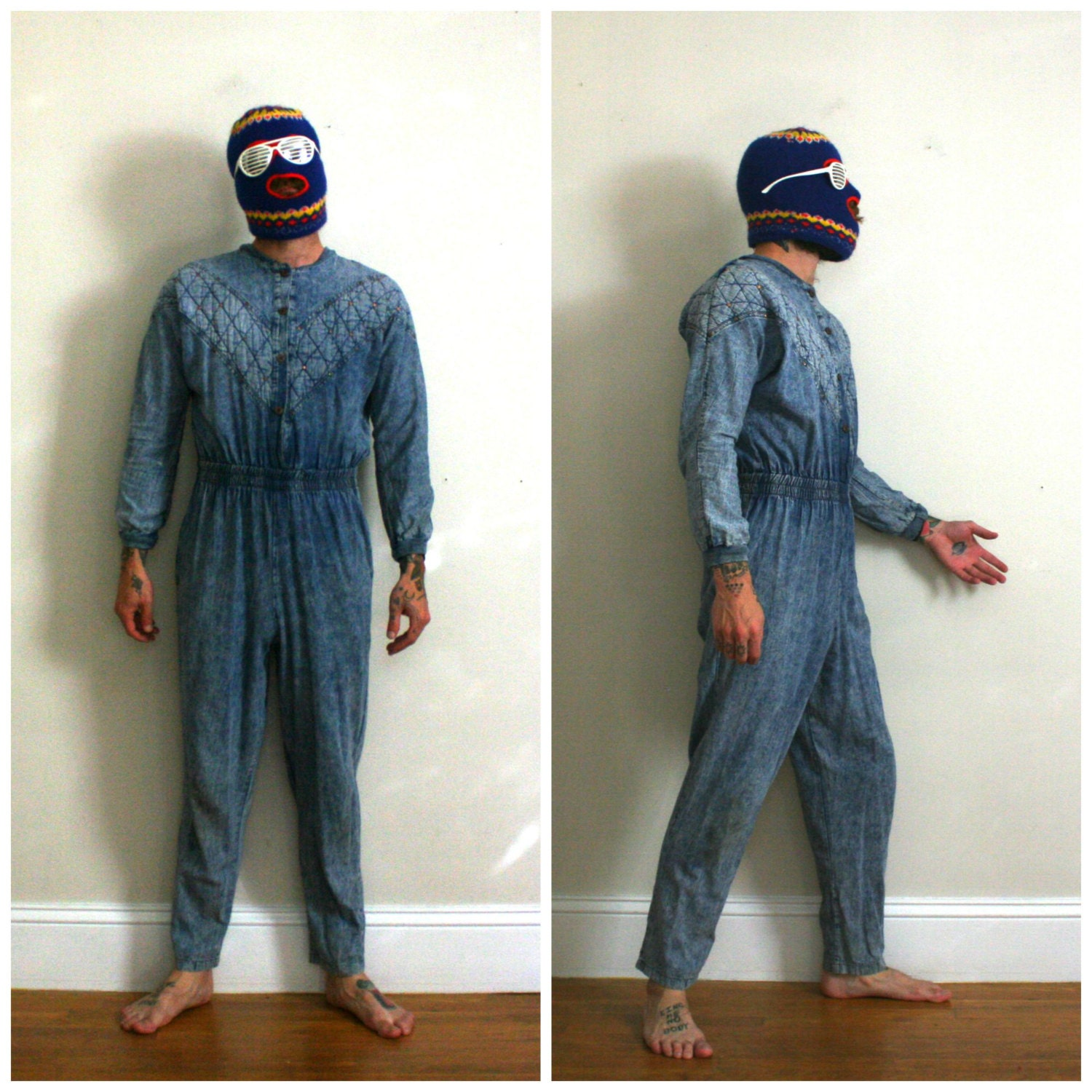 a593175149 Vintage Denim Jumpsuit. Full Body Denim Coveralls. Stretchy Funky Womens  Body Suit. Rare Full Body Denim Outfit. 80s Halloween Costume