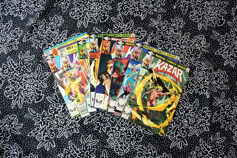 Set Of 8 Kazar The Savage Comic Books  Vintage Marvel Barbarian Fantasy  Comic Book  Issues 2-9 Kazar The Savage Bronze Age Comic Book Set