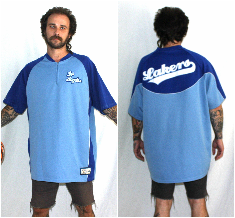 Huge Los Angelese Lakers Warm Up Jersey Shirt. NBA Basketball LA Lakers  Button Up Blue Baseball Warm Up Jersey.Oversized Hardwood Classics 74d2051d7