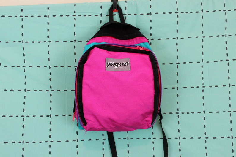 939f6df639c2 Pink And Turquoise Jansport Backpack. Retro Nylon 80s 90s