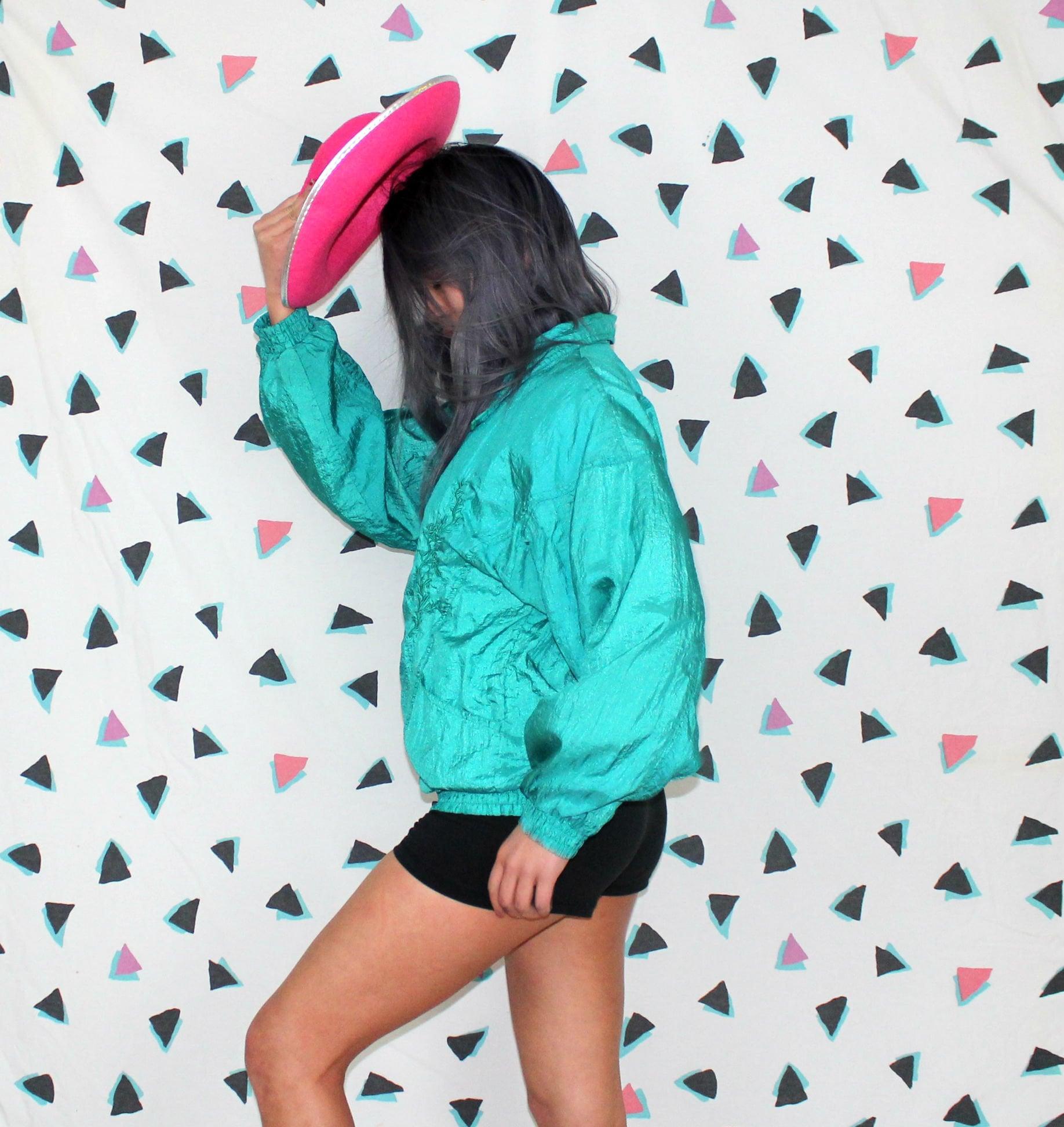 6871075ef58 Retro 80s Or 90s Womens Hip Hop Windbreaker Bomber Jacket. Vintage Mint  Neon Seafoam Green 80s Nylon Bomber Zip Up Jacket. 90s Hip Hop
