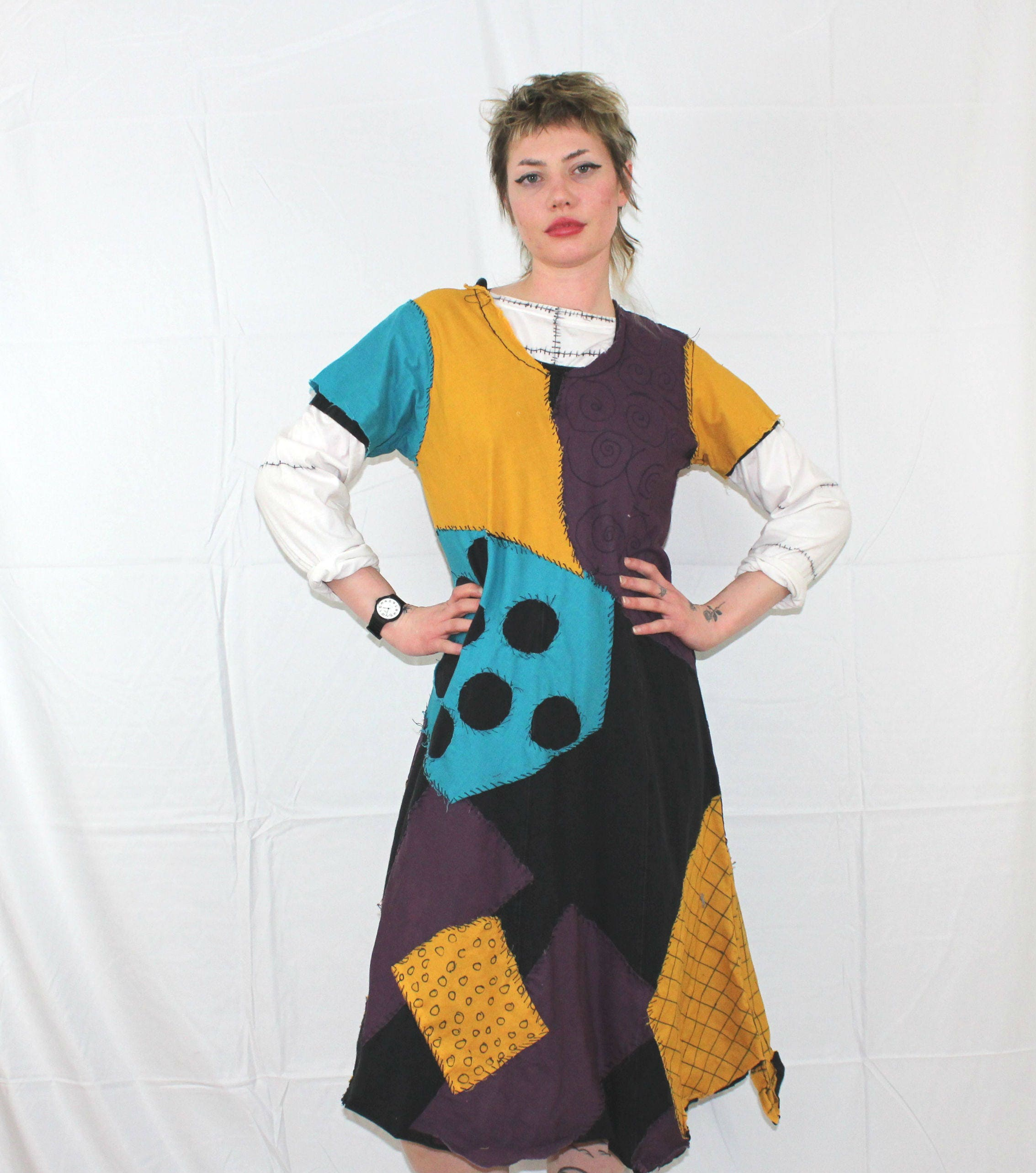 Handmade Nightmare Before Christmas Sally Dress. Womens Patchwork ...